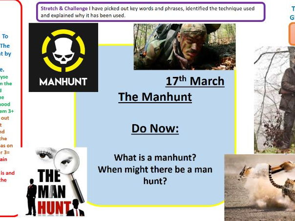 Lesson on The Manhunt poem by Simon Armitage