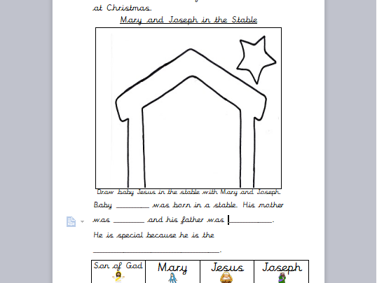Year One RE Christian Symbols at Christmas Notebook and Differentiated Worksheets