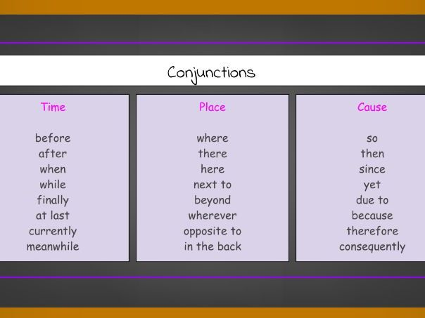 Free Conjunctions to Express Time, Place and Cause List