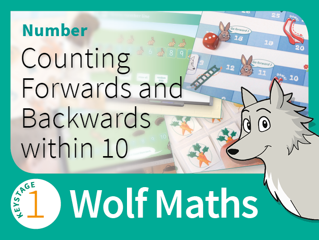 KS1 Number - Counting Forwards and Backwards within 10 - Wolf Maths 1 (Games Pack)