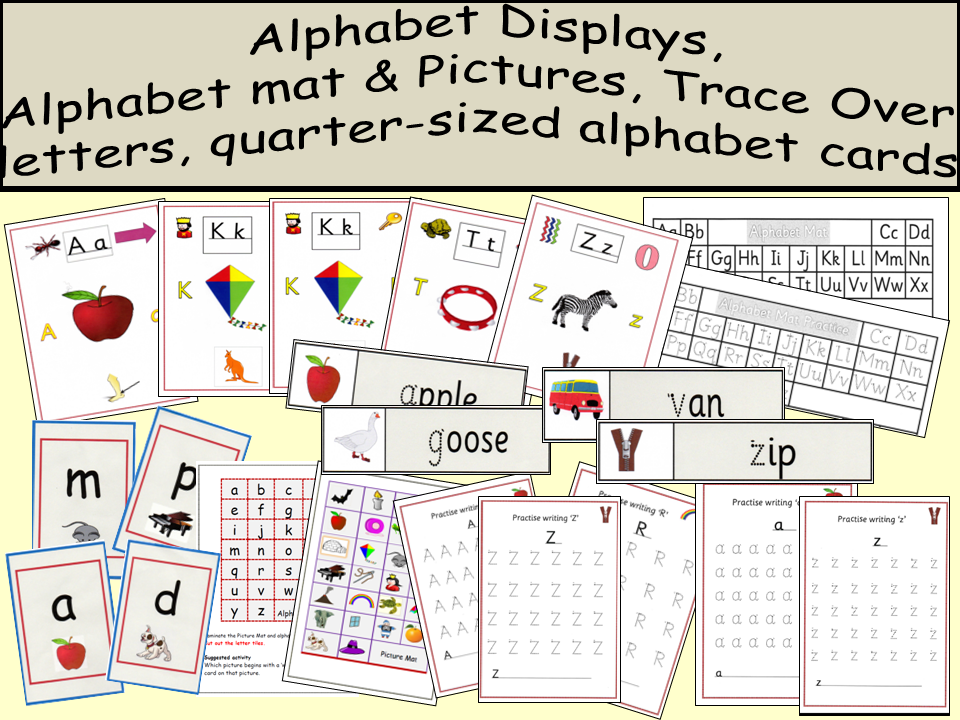 Large Alphabet Displays/small a-z cards, Alphabet mat/pictures,Trace over a-z, Word cards dotted a-z