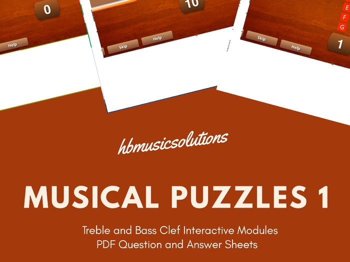 Musical Puzzles 1 Treble and Bass Clef Interactive Module and Worksheets.