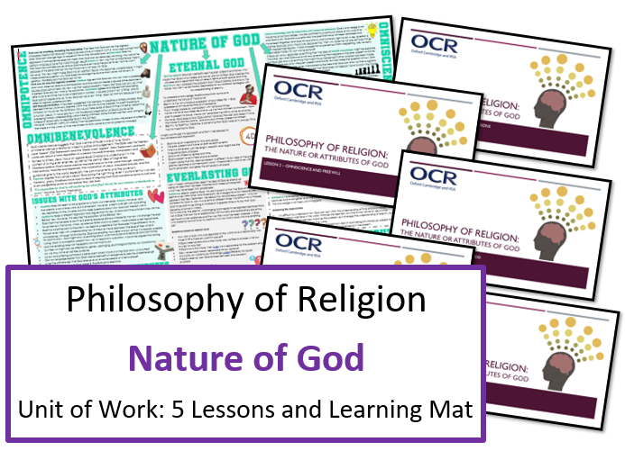 A Level Philosophy of Religion: Nature or Attributes of God - Unit of 5 Lessons and Learning Mat