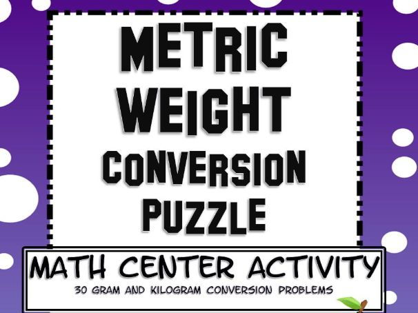 Measurement Metric Mass Conversion Math Center