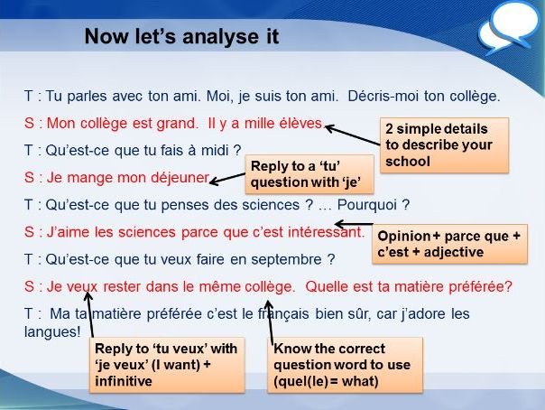 French GCSE Foundation school description role play