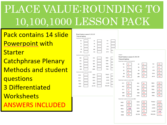 Place Value-Rounding to 10-100-1000 Lesson Pack