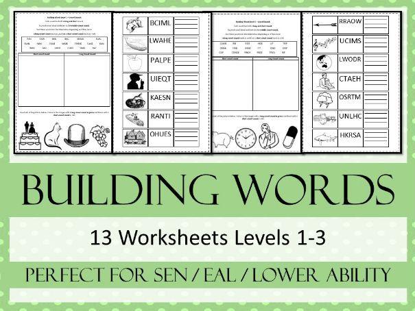 Building Words - English - Spelling SEN Worksheet Pack