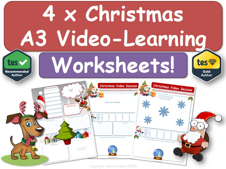 Christmas Lesson / Activity [A3 Video-Learning Worksheets x 4] Christmas!
