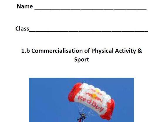 New OCR 9-1 GCSE PE. 1.B Commercialisation. Pupil Workbook & Answer Booklet.