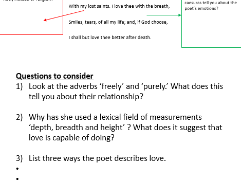 Sonnet 43: Guided questions and comprehension