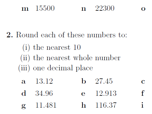 Rounding numbers to the nearest 10, 100, 1000, whole number and 1 decimal place worksheet (with ans)