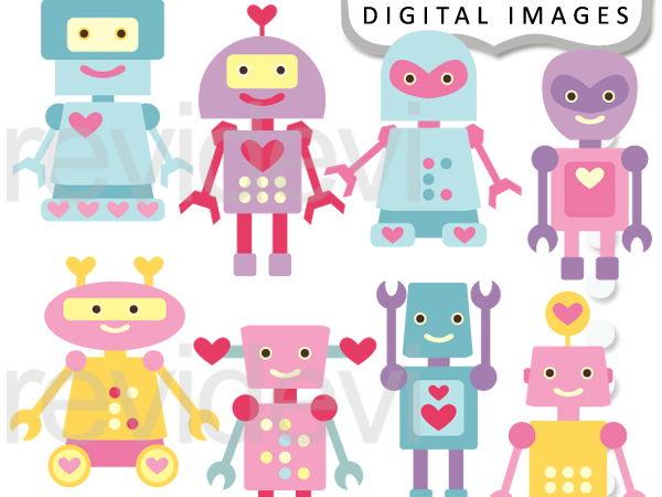 Cute Robots Digital Graphic Clip Art