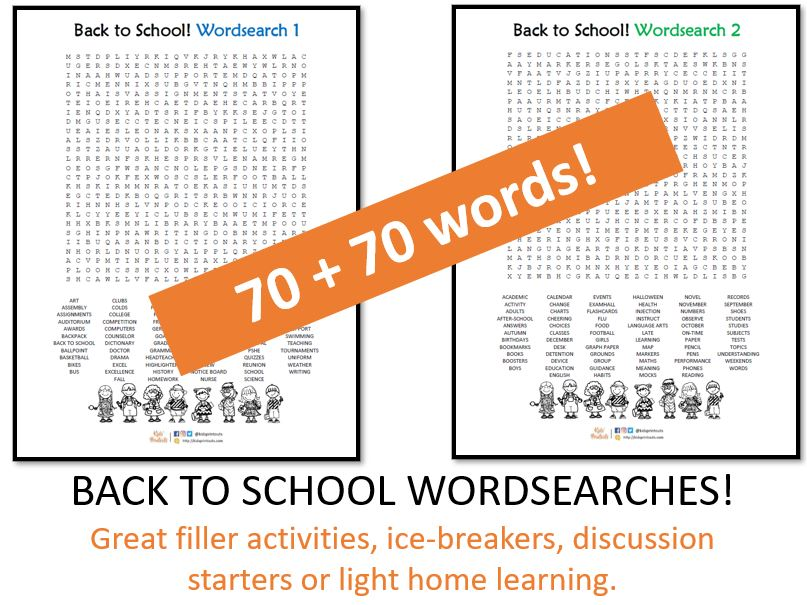 Back to school wordsearch x 2 - 140 words