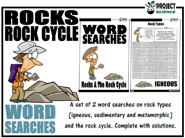 Rocks and The Rock Cycle Word Searches
