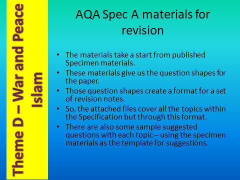 AQA GCSE (9-1) RS - Spec A - Revsion materials - Theme D - Religion, Peace and Conflict - Islam