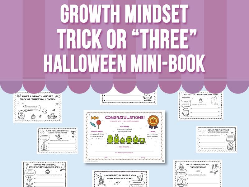 "Growth Mindset - Trick or ""Three"" Halloween Mini-Book"