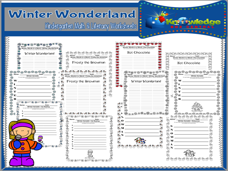 Winter Acrostics and Words in Words Worksheets