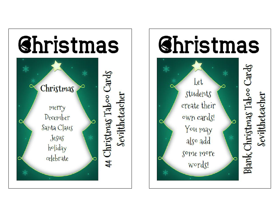 Christmas Taboo Cards (44 Cards)