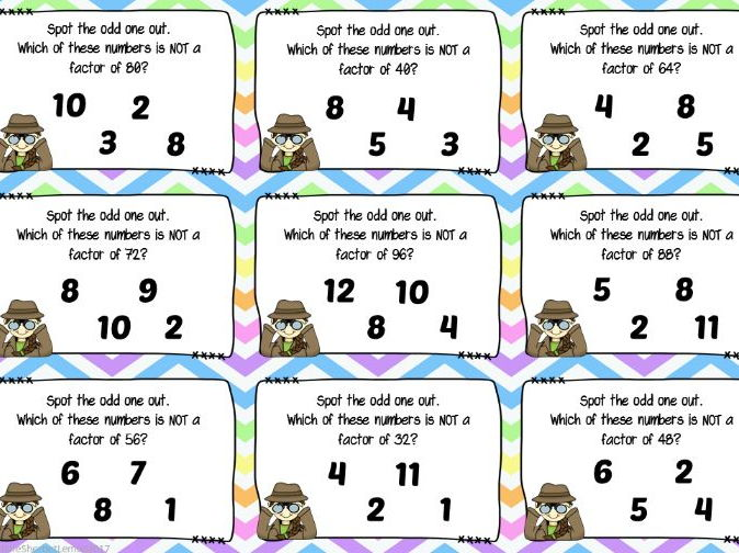 Odd One Out Finding Factors Of Numbers By Littlesherbetlemon
