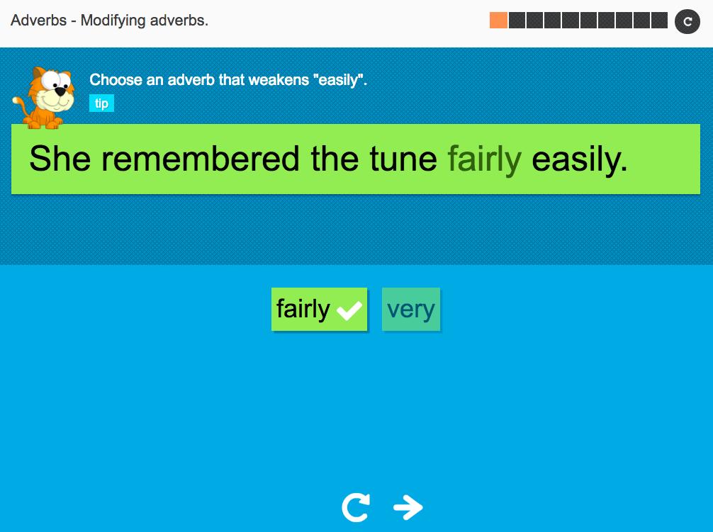Modifying adverbs - Interactive Activity - KS3 Spag