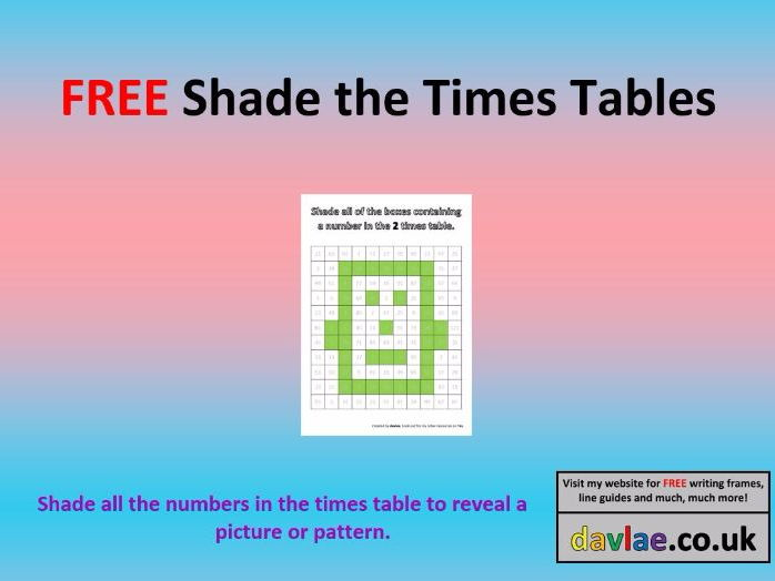 FREE Shade the Times Tables