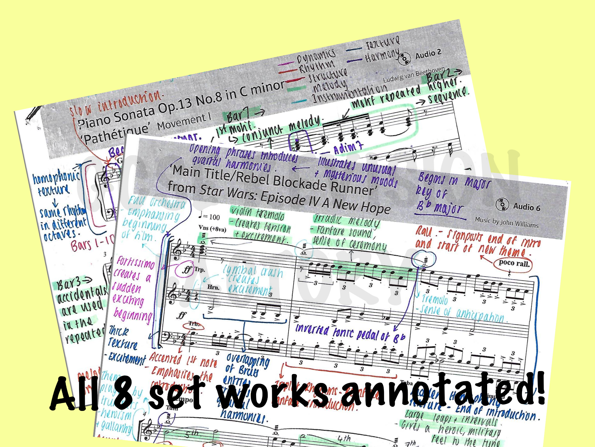Edexcel GCSE 9-1 Music - ALL 8 SET WORKS FULL SCORE ANNOTATED