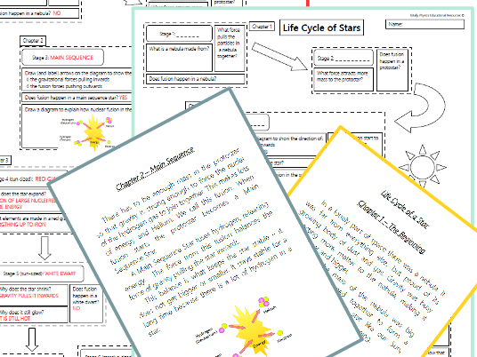GCSE Physics: Life Cycle of Stars - Literacy Task (2018 spec)
