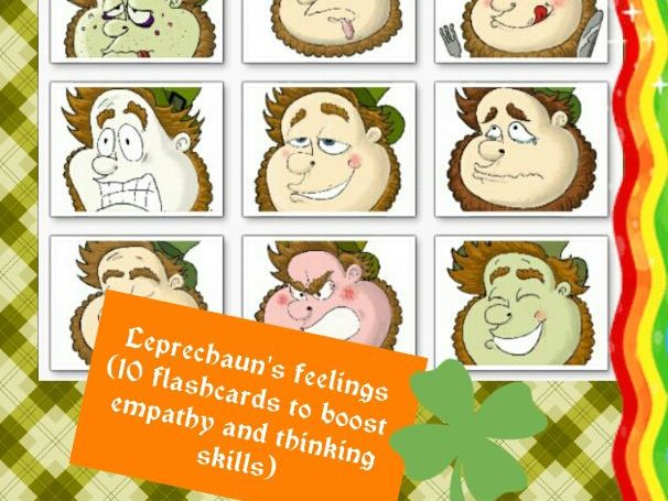 Leprechaun's feelings and states (10 flashcards, 2 sets of wordcards and 200+ min of fun!)