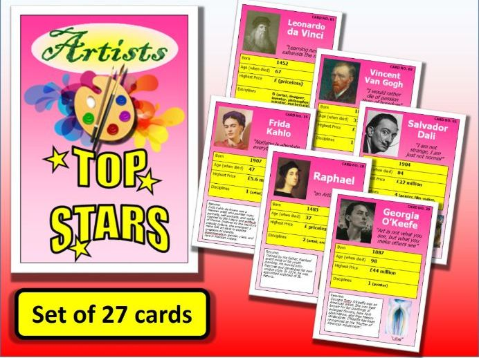 Famous ARTISTS Top Stars Card Game set of 27 Art End of Term Activity Posters Starter Plenary