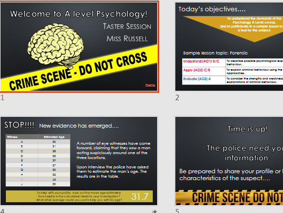 A Level Psychology Taster Lesson - Crime and Offender Profiling (AQA)