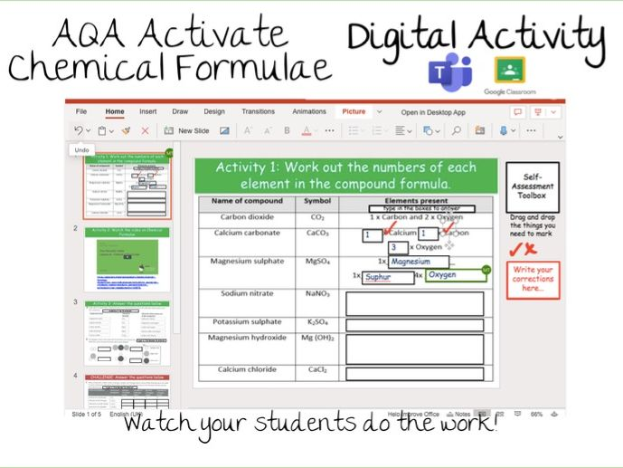 5.3.4 Chemical Formulae Activate Digital Activity- Google Classroom / Microsoft Teams Assignments