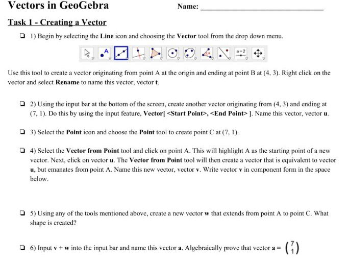 IB Math SL GeoGebra Vectors Activity