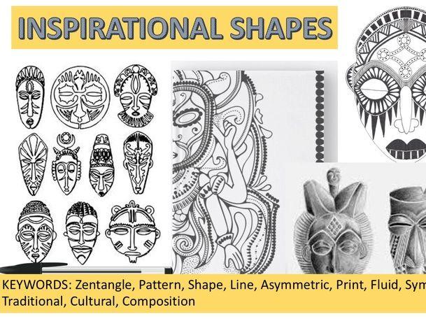 African Masks Art/ Zentangle patterns