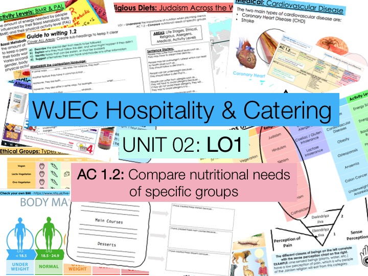 KS4 WJEC Hospitality Unit 02 LO1 - AC1.2 - Nutritional Needs of Specific Groups