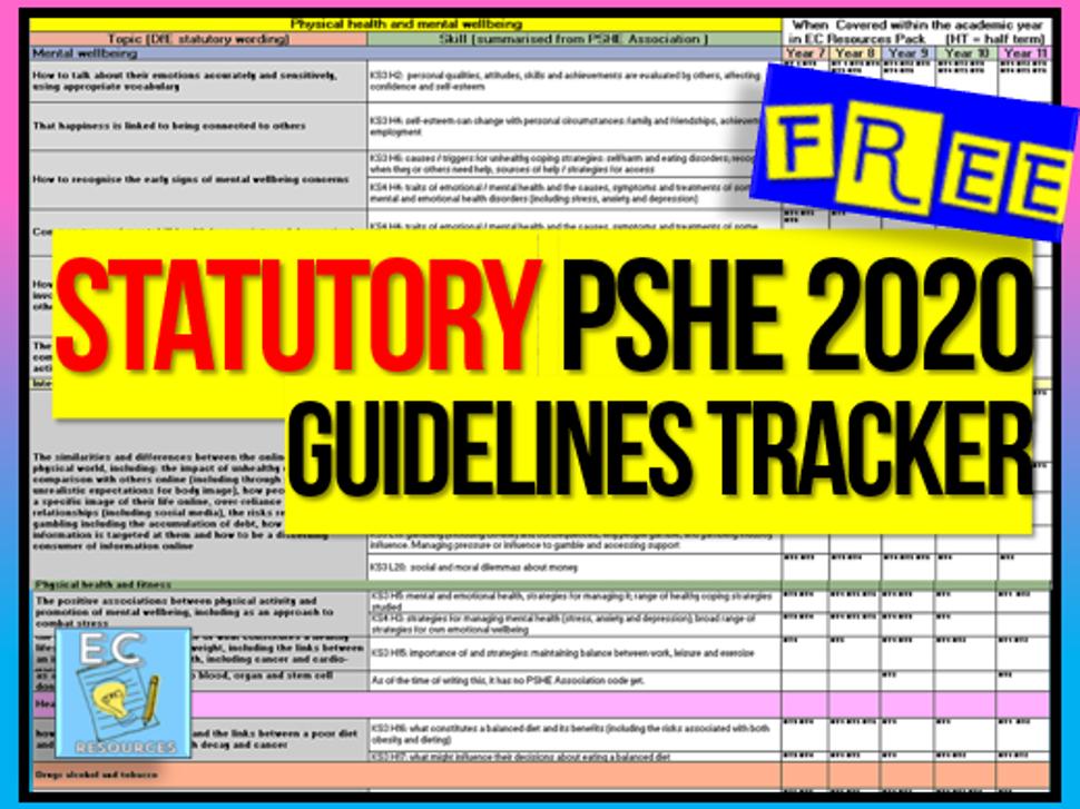 PSHE 2020 Guidelines Tracker
