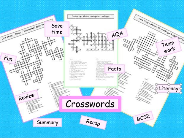 **AQA crosswords Alaskan oil opportunities & challenges GCSE geography revision ks4- 3x resources *