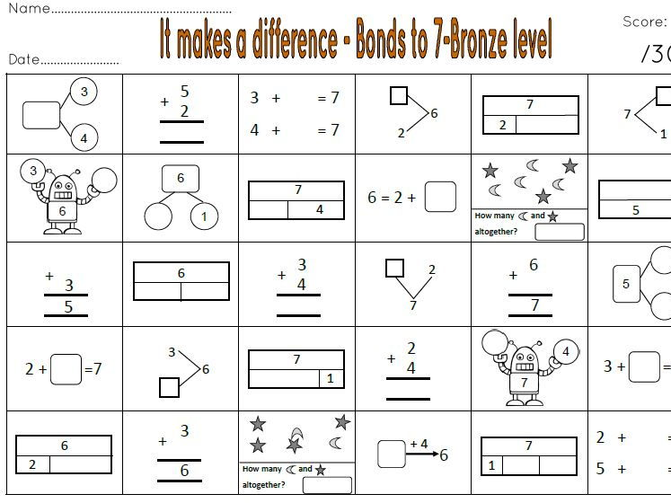 It Makes a Difference Number bonds to 5, 7 and 10