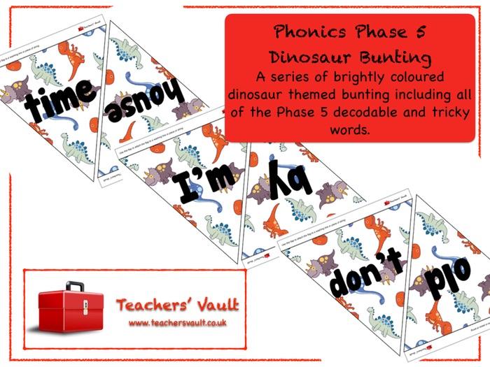 Phonics Phase 5 Dinosaur Bunting