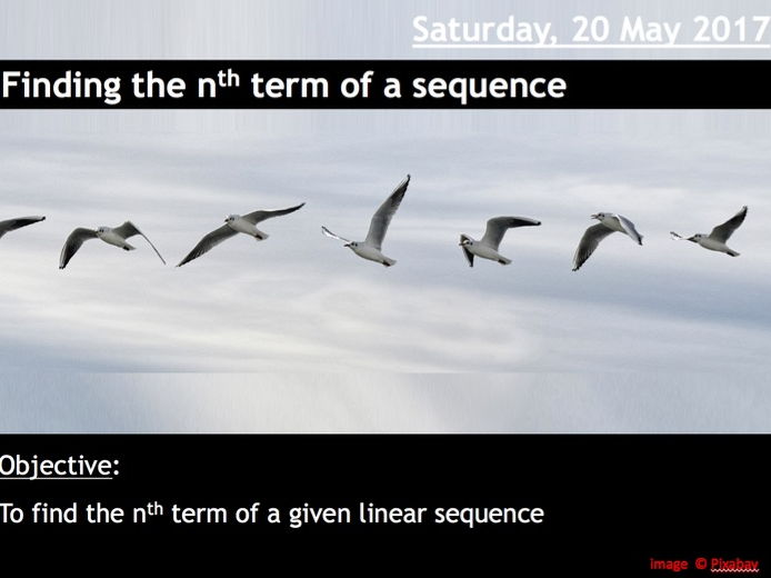 ProjectALesson: Finding the nth term of a sequence