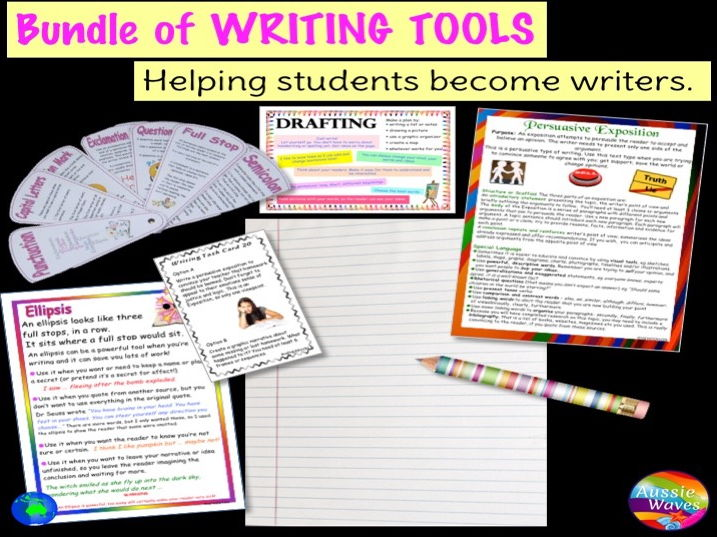 Bundle of Writing Resources for a Writing Centre Posters and Activities