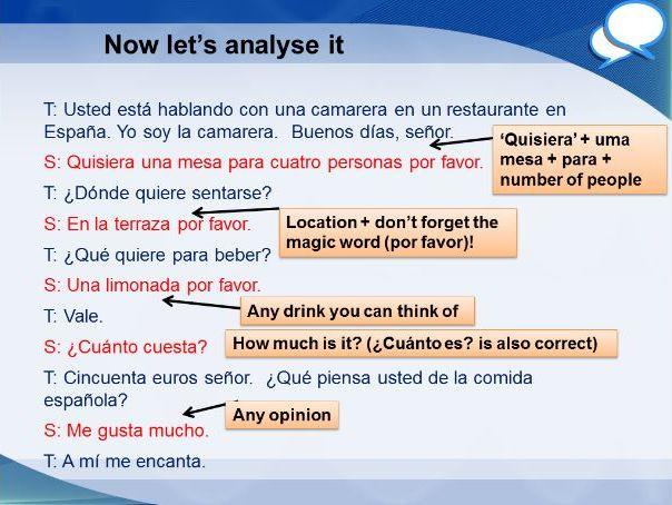 Spanish Foundation restaurant role play