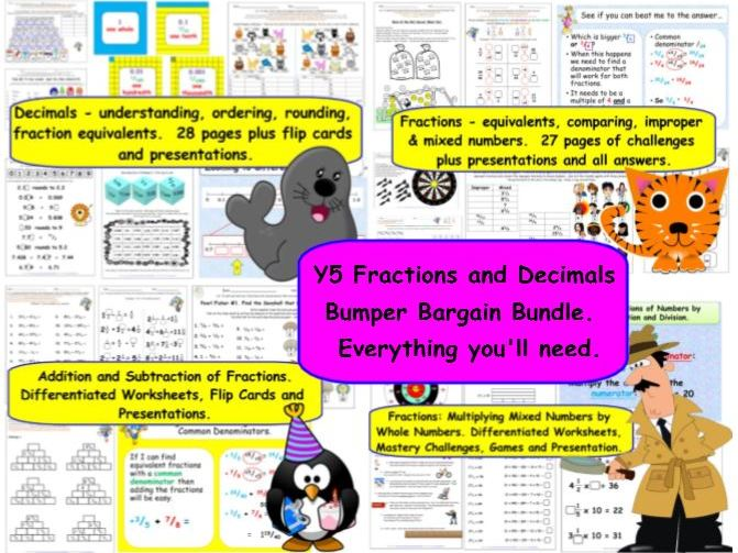 Y5 Fractions and Decimals Bargain Bundle