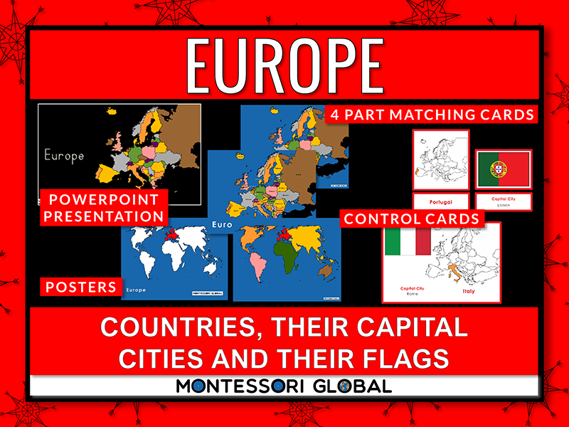 Europe   Flags   Capital Cities - PowerPoint + Montessori 3 Part Cards