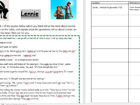 Of Mice and Men - Lennie character quote revision task.
