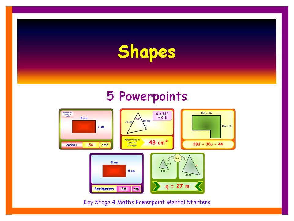KS4 Maths Mental Starters:  Shapes