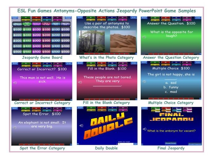 Antonyms Opposite Actions Jeopardy PowerPoint Game