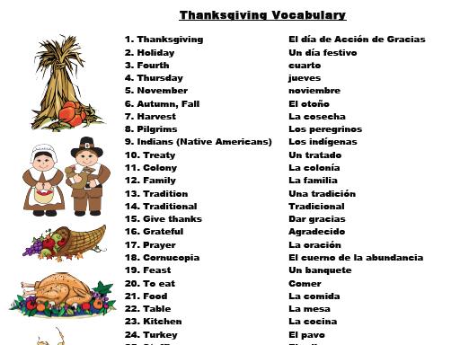 Día De Acción de Gracias Lotería, Thanksgiving Bingo