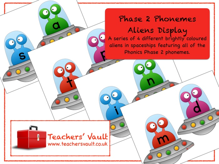 Phase 2 Phonemes Aliens Display