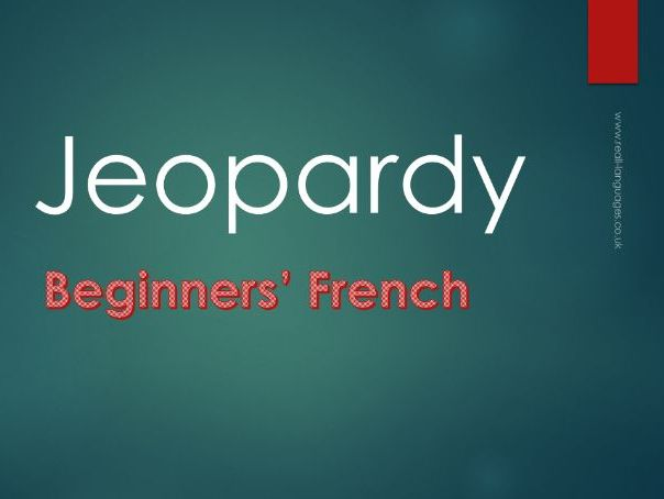 French Beginners: Jeopardy Game