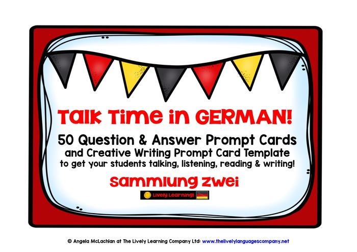 GERMAN SPEAKING PRACTICE (2) - 50 QUESTION & ANSWER PROMPT CARDS